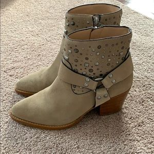 Coach 8 suede leather ankle harness stud booties